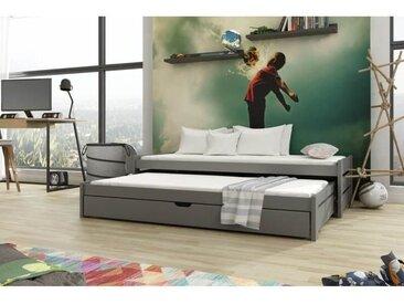 Lit gigogne Anis - 4 couleurs - 7 Tailles - Graphite - 80 cm x 160 cm