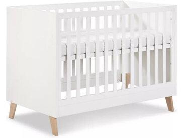 Lit bébé évolutif 120x60 Noah Blanc 60 cm x 120 cm MDF et chêne petitechambre.fr