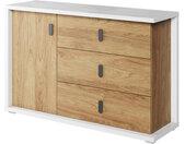 Grande commode 3 tiroirs et 1 porte MASSI largeur 135 cm blanc et chêne hickory Chêne hickory Panneaux Stratifiés petitechambre.fr