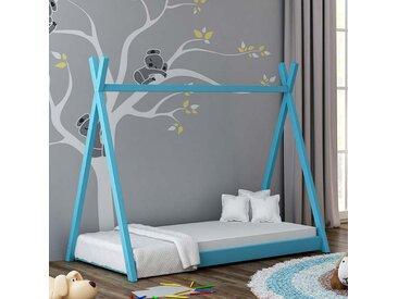 Lit cabane Tipi pour enfant - Bleu - 70 cm x 160 cm