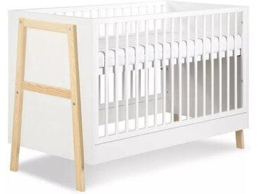 Lit bébé à barreaux Hugo Blanc 60 cm x 120 cm Bois massif petitechambre.fr