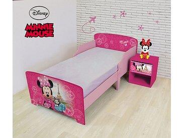 Pack chambre (lit + table de chevet + veilleuse LED) Minnie