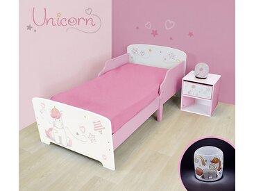 Pack chambre (lit + table de chevet + veilleuse LED) Licorne