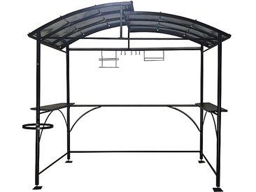 Carport barbecue autoportant à double toit finition époxy gris anthracite