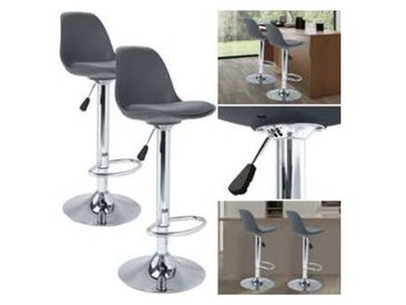 Lot de 2 tabourets de bar KARL design gris