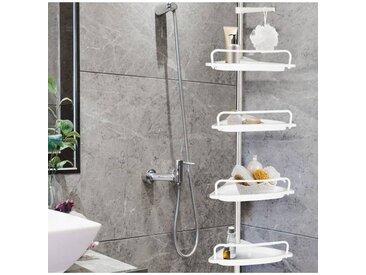"""IDMarket """"Etagère d'angle de douche télescopique chromée avec 4 tablettes blanches"""""""