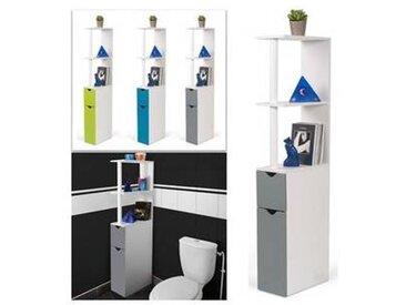 probache Meuble WC étagère bois gain de place pour toilette 2 portes grises