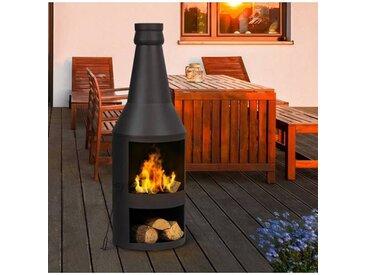 "IDMarket ""Brasero de jardin cheminée en acier noir"""