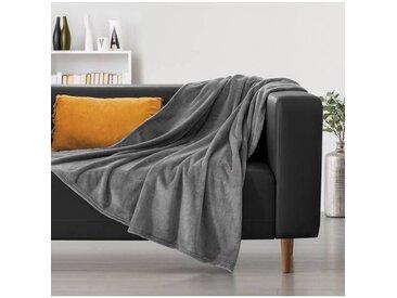 """IDMarket """"Plaid canapé couverture polaire 200x240 CM gris"""""""
