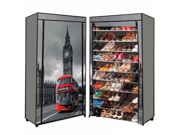 """IDMarket """"Étagère range chaussures 50 paires housse imprimé Londres"""""""