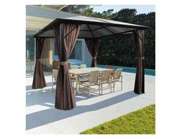 Tonnelle toit polycarbonate 3x3 M rideaux taupe