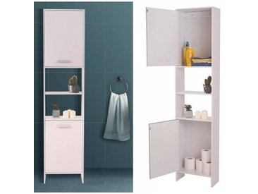 """IDMarket """"Meuble colonne salle de bain en bois design blanc"""""""