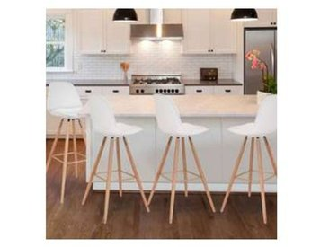 Lot de 4 Tabourets de bar SARA Blanc