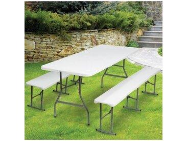 """ProBache """"Table pliante portable 180 cm et 2 bancs pliables pour camping buffet"""""""