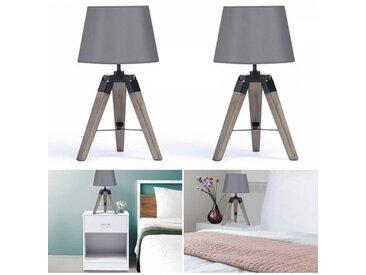 """IDMarket """"Lot de 2 lampes de chevet trépied en bois foncé grises"""""""