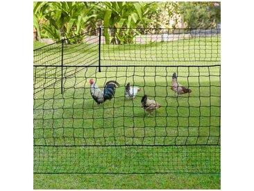"""IDMarket """"Kit clôture filet à poules 50 M avec porte 15 piquets double pointes"""""""