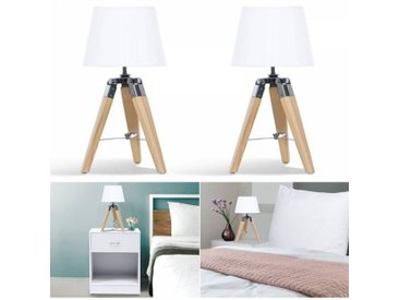 """IDMarket """"Lot de 2 lampes de chevet trépied en bois clair blanches"""""""