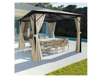 Tonnelle toit polycarbonate 3x3 M rideaux écrus