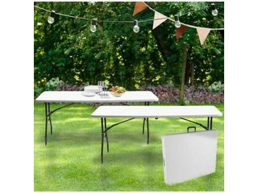 """IDMarket """"Lot de 2 tables pliantes portables pour camping ou réception 180 cm"""""""