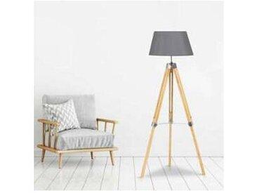 Lampadaire trépied bois clair réglable gris