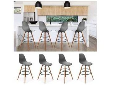 Lot de 4 Tabourets de bar design scandinave gris