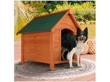 """IDMarket """"Niche en bois surélevée pour chiens toit ouvrant"""""""