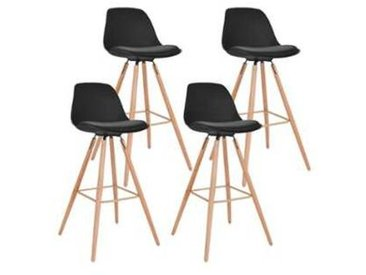 Lot de 4 Tabourets de bar SARA Noir