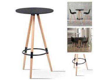 Table haute de bar ronde scandinave Sara noire
