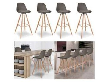Lot de 4 Tabourets de bar SARA Gris