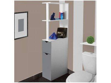 """ProBache """"Meuble WC étagère bois gain de place pour toilette 2 portes grises"""""""