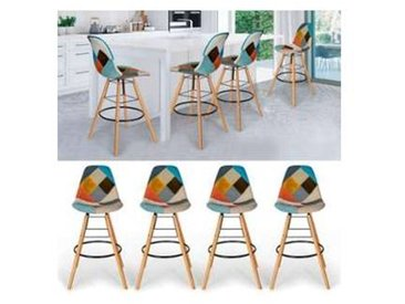 Lot de 4 tabourets de bar motifs patchworks multi-couleurs