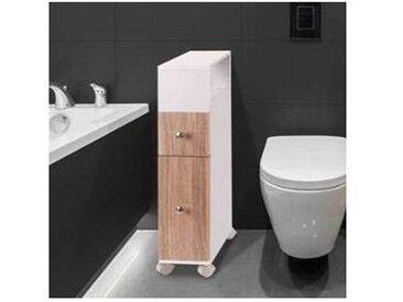 Meuble rangement WC sur roulettes 2 tiroirs hêtre