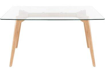 Table repas verre trempé et chêne 120 x 80 cm Scandie - ZAGO