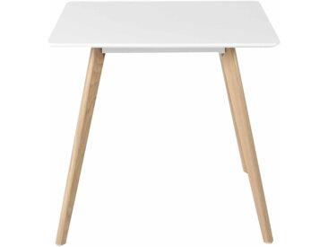 Table repas carrée blanche et pieds chêne 80x80 cm scandinave Flamy - ZAGO