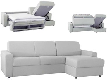 Canapé d'angle convertible réversible en microfibre Gris clair - Tissu microfibre 4 places - lit 120 cm