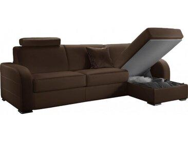 Canapé d'angle convertible réversible en cuir 4 places - lit 120 cm Marron - Cuir + synderme