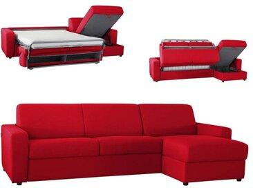 Canapé d'angle convertible réversible en microfibre Rouge - Tissu microfibre 4 places - lit 120 cm