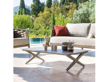 Table basse de jardin rectangulaire Embruns Effet bois macadamia