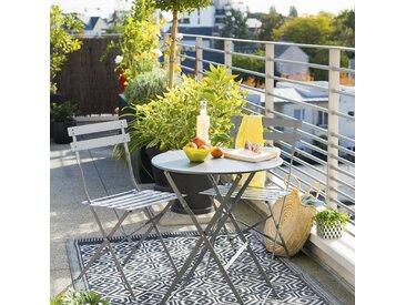 Table de jardin pliante ronde Camargue Ardoise mat