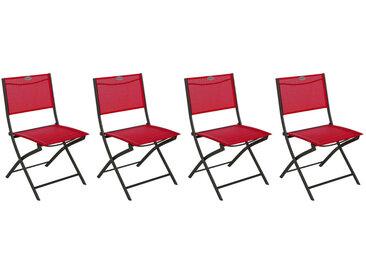 Lot de 4 chaises de jardin pliantes Modula Framboise & Graphite