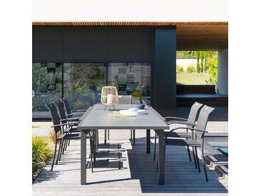 Table de jardin extensible Piazza Effet bois gris & Graphite
