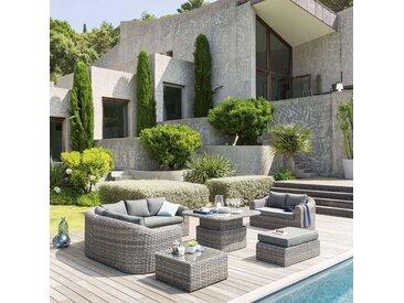 Table de salon de jardin relevable Mooréa Terre d'ombre