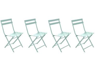 Lot de 4 chaises de jardin pliantes Greensboro Vert céladon