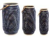 Lot de 3 lanternes d'extérieur en bambou Bleu