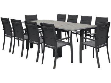Table de jardin extensible Allure Effet bois muscade & Graphite