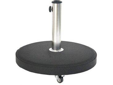 Pied de parasol rond à roulettes Noir