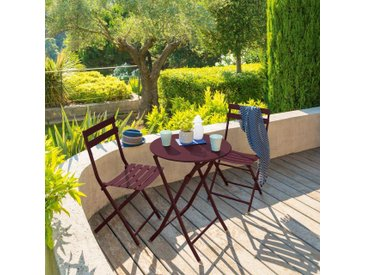Table de jardin pliante ronde Greensboro Bordeaux