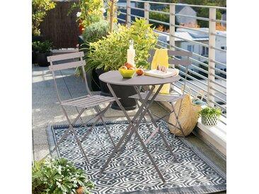 Table de jardin pliante ronde Camargue Taupe brillant