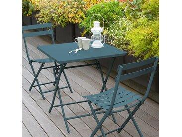 Table de jardin pliante carrée Greensboro Bleu canard
