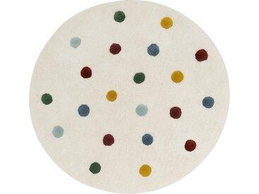 Tapis enfant tufté rond motif pompons d120cm - blanc pompons colorés - alinea